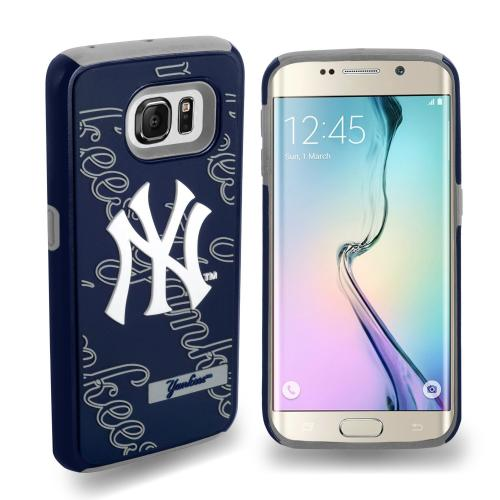 Samsung Galaxy S6 Edge MLB Case, Slim Dual layer Hybrid Hard Case on TPU Case [New York Yankees]