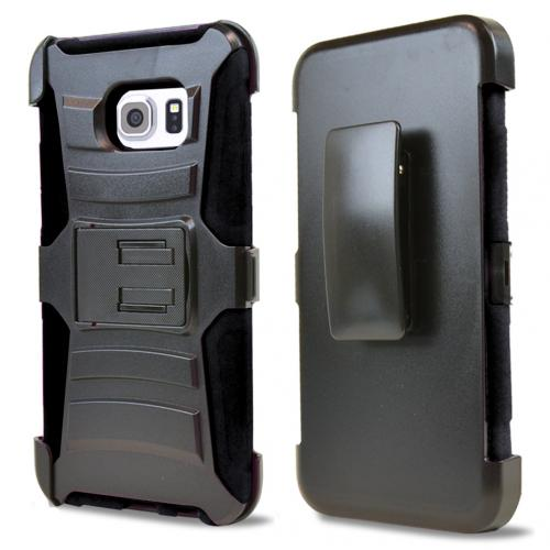 Samsung Galaxy S6 Edge Plus,  [Black]  Heavy Duty Dual Layer Hybrid Holster Case with Kickstand and Locking Belt Swivel Clip