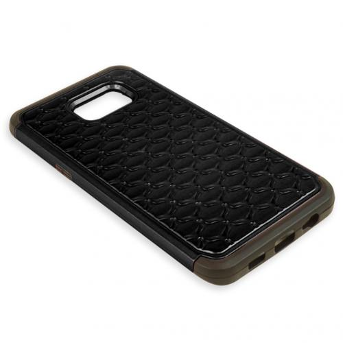 Samsung Galaxy S6 Edge Plus,  [Black Bling]  Supreme Protection Plastic on Silicone Dual Layer Hybrid Case