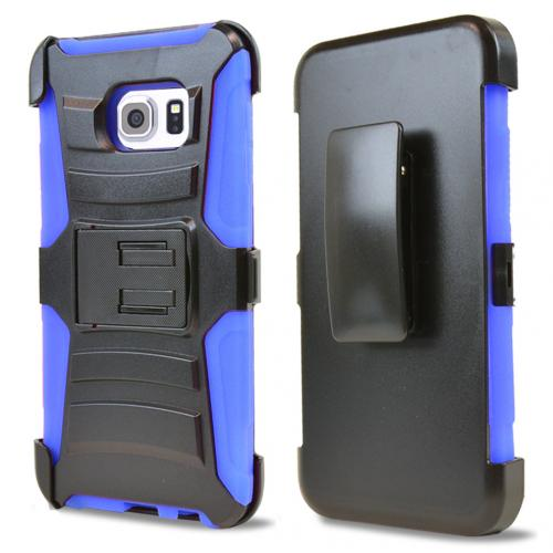 Samsung Galaxy S6 Edge Plus,  [Blue]  Heavy Duty Dual Layer Hybrid Holster Case with Kickstand and Locking Belt Swivel Clip