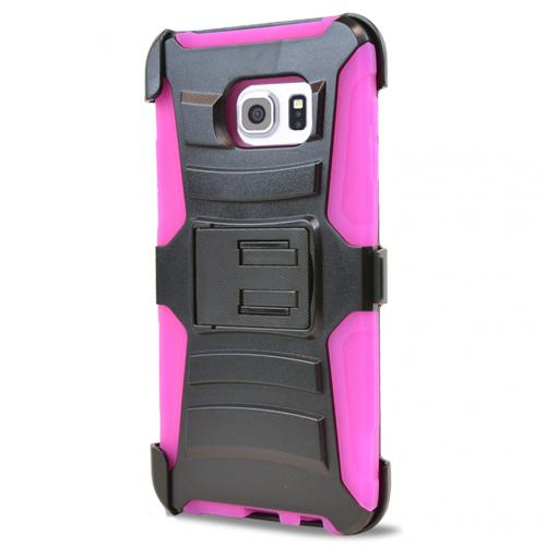 Samsung Galaxy S6 Edge Plus,  [Hot Pink]  Heavy Duty Dual Layer Hybrid Holster Case with Kickstand and Locking Belt Swivel Clip