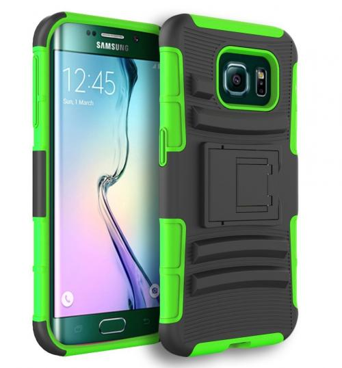 Samsung Galaxy S6 Edge Plus,  [Neon Green]  Heavy Duty Dual Layer Hybrid Holster Case with Kickstand and Locking Belt Swivel Clip