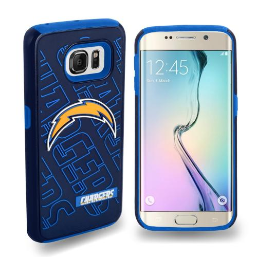 Samsung Galaxy S6 Edge NFL Case, Slim Dual layer Hybrid Hard Case on TPU Case [San Diego Chargers]