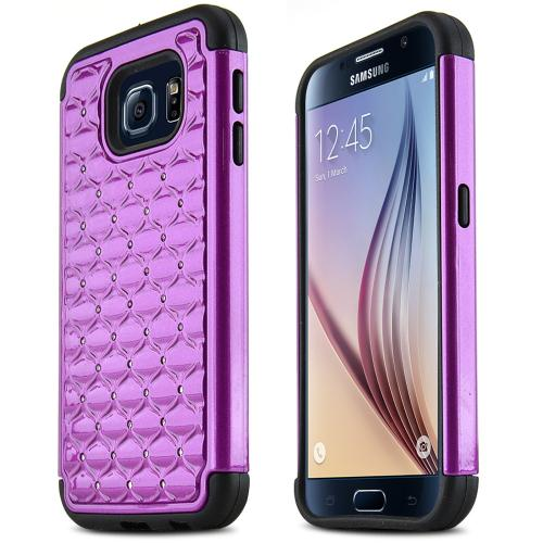 Samsung Galaxy S6 Case,  [Purple Bling]  Supreme Protection Plastic on Silicone Dual Layer Hybrid Case