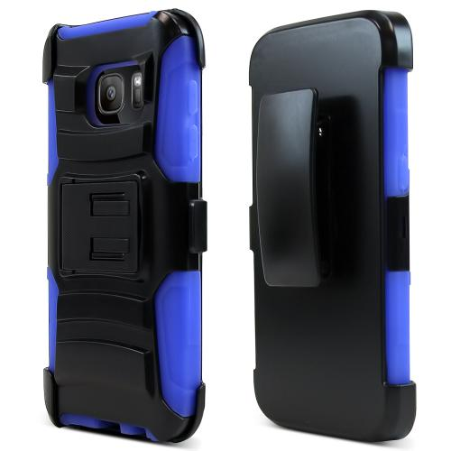 Samsung Galaxy S7 Holster Case, REDshield [Blue]  Heavy Duty Dual Layer Hybrid Holster Case with Kickstand and Locking Belt Swivel Clip