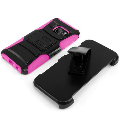 Samsung Galaxy S7 Holster Case, REDshield [Hot Pink]  Heavy Duty Dual Layer Hybrid Holster Case with Kickstand and Locking Belt Swivel Clip