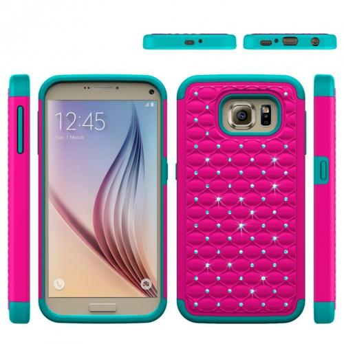 Samsung Galaxy S7 Bling Case, Redshield [Hot Pink/ Mint]  Supreme Protection Bling Plastic on Silicone Dual Layer Hybrid Case with Travel Wallet Phone Stand