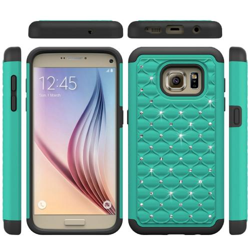 Samsung Galaxy S7 Bling Case, Redshield [Mint/ Black]  Supreme Protection Bling Plastic on Silicone Dual Layer Hybrid Case with Travel Wallet Phone Stand