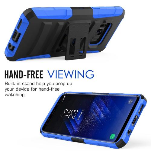 Samsung Galaxy S8 Active Holster Case, [REDshield] Dual Layer [Black] Hard Case w/ Kickstand on [Blue] Silicone Skin Case w/ Holster