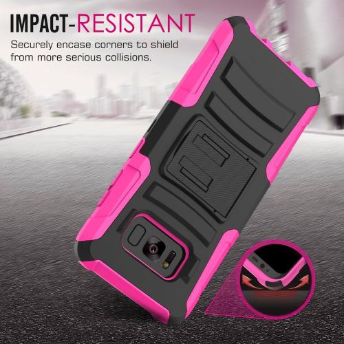 Samsung Galaxy S8 Active Holster Case, [REDshield] Dual Layer [Black] Hard Case w/ Kickstand on [Hot Pink] Silicone Skin Case w/ Holster