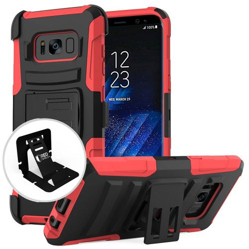 Samsung Galaxy S8 Holster Case, [REDshield] Dual Layer Hard Case w/ Kickstand on Silicone Skin Case w/ Holster [Red/ Black] with Travel Wallet Phone Stand