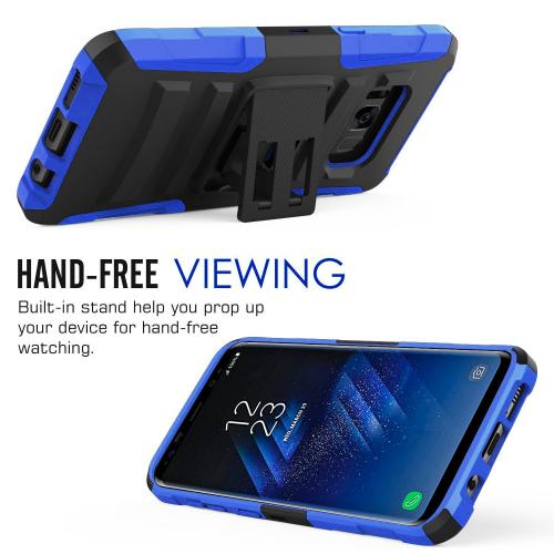 Samsung Galaxy S8 Plus Heavy Duty Case, Dual Layer Hard Case w/ Kickstand on Silicone Skin Case w/ Holster [Blue/ Black] with Travel Wallet Phone Stand