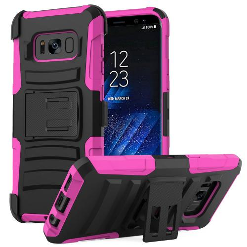 Samsung Galaxy S8 Plus Heavy Duty Case, Dual Layer Hard Case w/ Kickstand on Silicone Skin Case w/ Holster [Hot Pink/ Black] with Travel Wallet Phone Stand