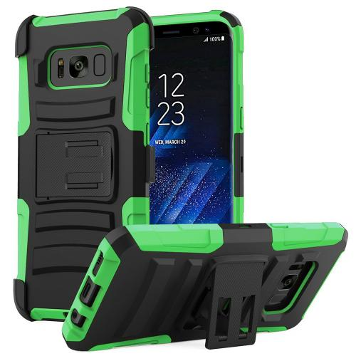 Samsung Galaxy S8 Plus Heavy Duty Case, Dual Layer Hard Case w/ Kickstand on Silicone Skin Case w/ Holster [Neon Green/ Black] with Travel Wallet Phone Stand