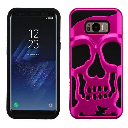 Samsung Galaxy S8 Plus Skull Case, Hybrid Dual Layer Hard Case on Silicone Skin [Hot Pink] with Travel Wallet Phone Stand