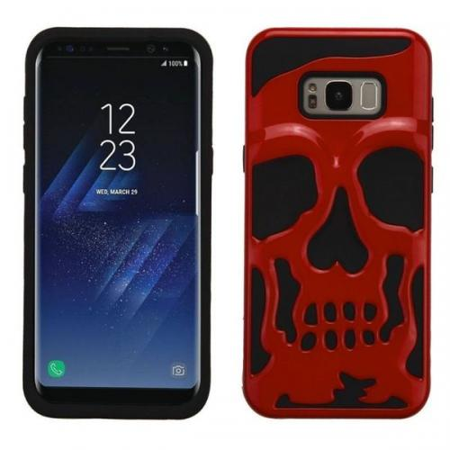 Samsung Galaxy S8 Plus Skull Case, Hybrid Dual Layer Hard Case on Silicone Skin [Red] with Travel Wallet Phone Stand