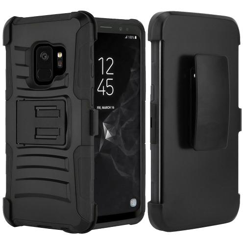 [SAMSUNG GALAXY S9] Holster Case, REDshield [Black] Supreme Protection Hard Plastic on Silicone Skin Dual Layer Hybrid Case