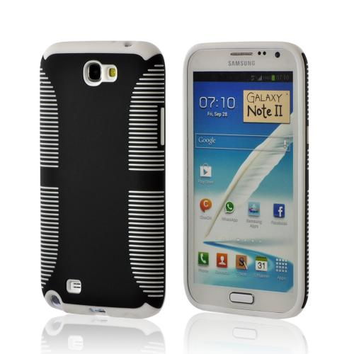 Black Hard Back on White Crystal Silicone Case for Samsung Galaxy Note 2