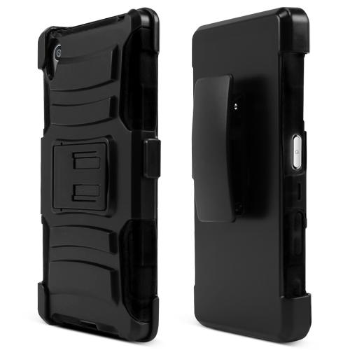 Sony Xperia Z5 Holster Case, [Black] Supreme Protection Plastic on Silicone Dual Layer Hybrid Case