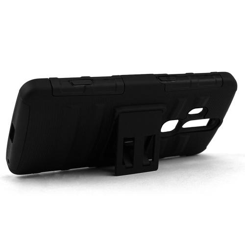 ZTE Axon Pro Holster Case, [Black] Supreme Protection Plastic on Silicone Dual Layer Hybrid Case