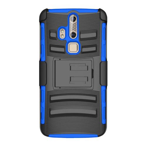ZTE Axon Pro Holster Case, [Blue] Supreme Protection Plastic on Silicone Dual Layer Hybrid Case
