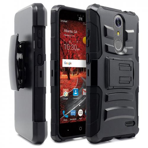 [ZTE Grand X 4] Case, REDshield [Black] Supreme Protection Hard Plastic on Silicone Skin Dual Layer Hybrid Case with Travel Wallet Phone Stand