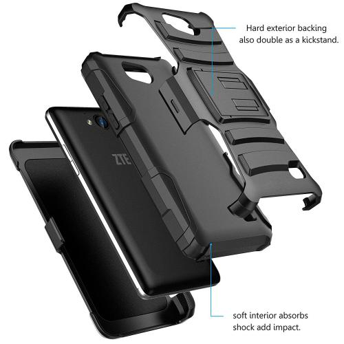 [ZTE Tempo] Holster Case, REDshield [Black] Supreme Protection Hard Plastic on Silicone Skin Dual Layer Hybrid Case with Travel Wallet Phone Stand