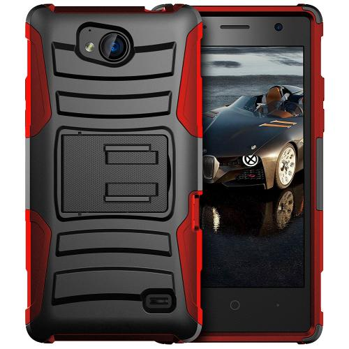 [ZTE Tempo] Holster Case, REDshield [Red/ Black] Supreme Protection Hard Plastic on Silicone Skin Dual Layer Hybrid Case with Travel Wallet Phone Stand