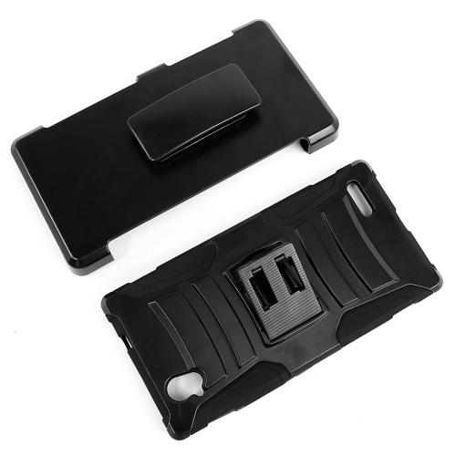 ZTE Warp Elite Holster Case, [Black] Supreme Protection Hard Plastic on Silicone Skin Dual Layer Hybrid Case w/ Holster - Fantastic Protection!