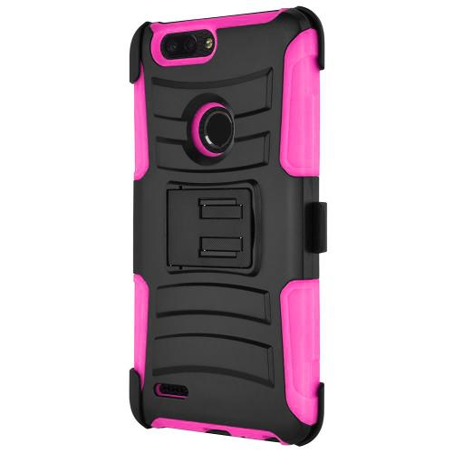[ZTE Blade ZMax/ Sequoia/ Z982] Holster Case, REDshield [Pink/Black] Supreme Protection Hard Plastic on Silicone Skin Dual Layer Hybrid Case