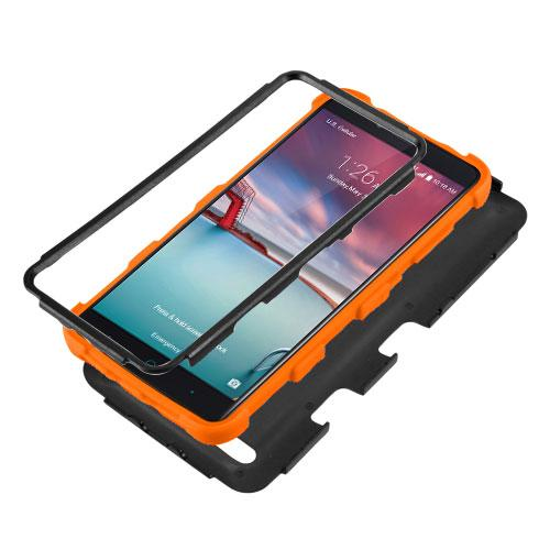 [ZTE Zmax Pro] Case, TUFF Hybrid Dual Layer Hard Case on [Orange] Silicone Skin [Tree Branches on Black]