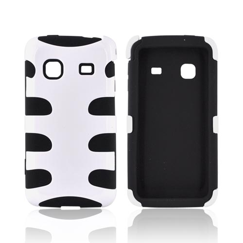 Samsung Galaxy Prevail M820 Hard Rubberized Fish Bone on Silicone Case - White on Black