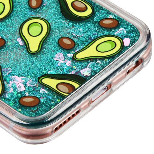Made for Apple iPhone 6 Plus / 6S Plus Case, Slim Crystal Back Bumper Case [Drop Protection] [Avocados Green w/ Hearts] Quicksand Glitter Flexible Border Case by Redshield