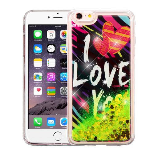 Apple iPhone 6 Plus / 6S Plus (5.5 inch) Case, Slim Crystal Back Bumper Case [Drop Protection] [I Love You & Gold Hearts] Quicksand Glitter Flexible Border Case