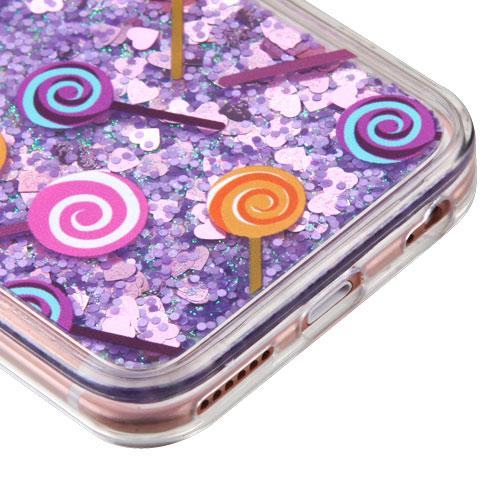 Made for Apple iPhone 6 Plus / 6S Plus Case, Slim Crystal Back Bumper Case [Drop Protection] [Lollipops Purple Hearts] Quicksand Glitter Flexible Border Case by Redshield