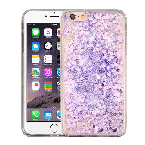 Made for Apple iPhone 6 Plus / 6S Plus Case, Slim Crystal Back Bumper Case [Drop Protection] [Purple Hearts] Quicksand Glitter Flexible Border Case by Redshield