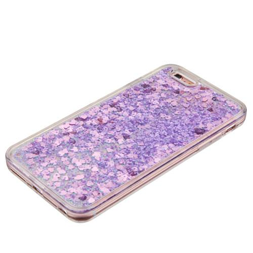 Made for Apple iPhone 6 / 6S Case, Slim Crystal Back Bumper Case [Drop Protection] [Purple Hearts] Quicksand Glitter Flexible Border Case by Redshield
