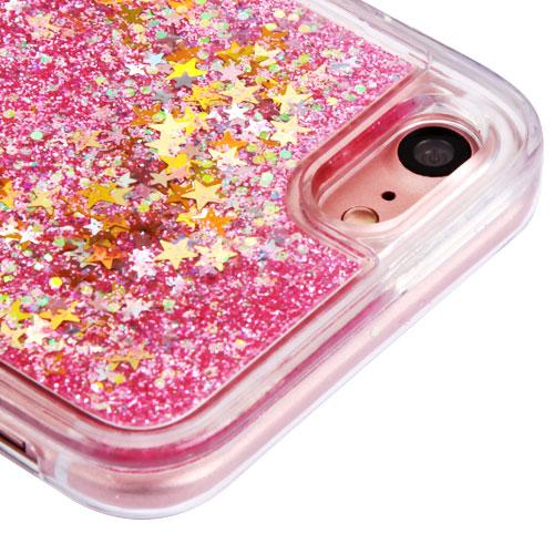 Made for Apple iPhone 8 / 7 / 6S / 6 Case, Slim Crystal Back Bumper Case [Drop Protection] [Baby Pink Stars] Quicksand Glitter Flexible Border Case with Travel Wallet Phone Stand by Redshield