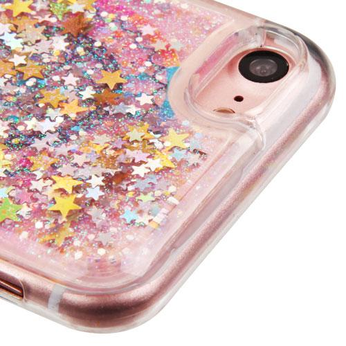 Made for Apple iPhone 8 / 7 / 6S / 6 Case, Slim Crystal Back Bumper Case [Drop Protection] [Dreamcatcher Gold Stars] Quicksand Glitter Flexible Border Case with Travel Wallet Phone Stand by Redshield