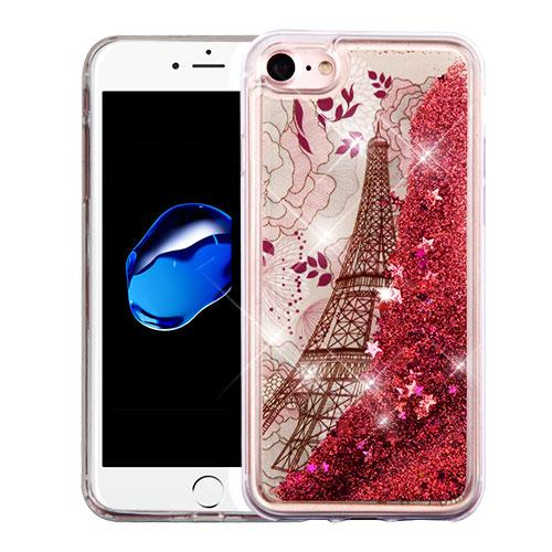 Made for Apple iPhone 8 / 7 / 6S / 6 Case, Slim Crystal Back Bumper Case [Drop Protection] [Eiffel Tower Rose Gold Stars] Quicksand Glitter Flexible Border Case with Travel Wallet Phone Stand by Redshield