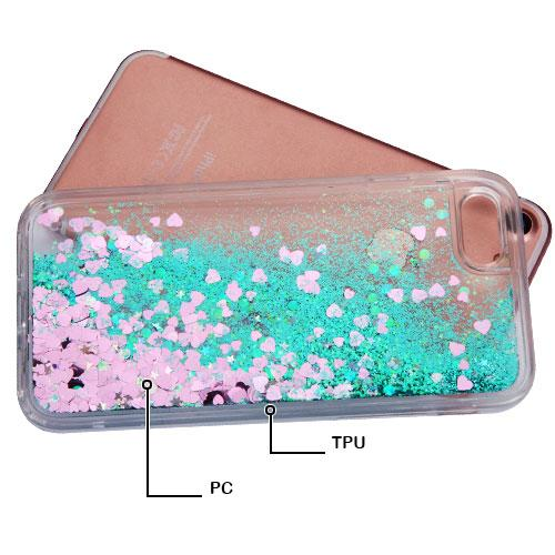 Made for Apple iPhone 8 / 7 / 6S / 6 Case, Slim Crystal Back Bumper Case [Drop Protection] [Green Hearts] Quicksand Glitter Flexible Border Case with Travel Wallet Phone Stand by Redshield