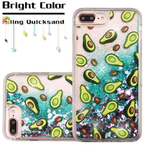Made for Apple iPhone 8 Plus / 7 Plus / 6S Plus / 6 Plus Case, Slim Crystal Back Bumper Case [Drop Protection] [Avocados Green w/ Hearts] Quicksand Glitter Flexible Border Case with Travel Wallet Phone Stand by Redshield