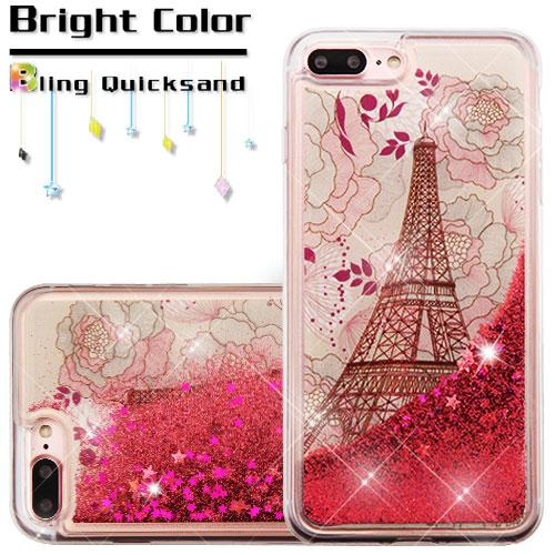 Apple iPhone 8 Plus / 7 Plus / 6S Plus / 6 Plus Case, Slim Crystal Back Bumper Case [Drop Protection] [Eiffel Tower & Rose Gold Stars] Quicksand Glitter Flexible Border Case with Travel Wallet Phone Stand