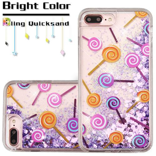 Made for Apple iPhone 8 Plus / 7 Plus / 6S Plus / 6 Plus Case, Slim Crystal Back Bumper Case [Drop Protection] [Lollipops Purple Hearts] Quicksand Glitter Flexible Border Case with Travel Wallet Phone Stand by Redshield