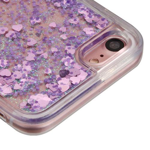 Apple iPhone 8 / 7 / 6S / 6 Case, Slim Crystal Back Bumper Case [Drop Protection] [Purple Hearts] Quicksand Glitter Flexible Border Case with Travel Wallet Phone Stand