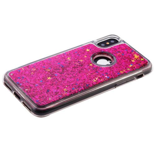 Apple iPhone X Glitter Case, [Hot Pink] Slim Crystal Back Bumper Case [Drop Protection] Quicksand Glitter Flexible Border Case