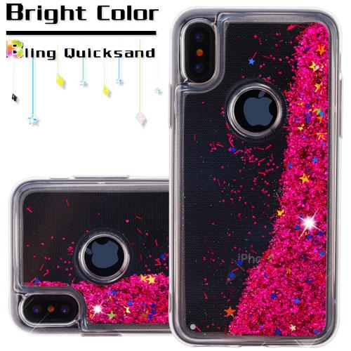 Made for [Apple iPhone X / XS 2018] Glitter Case, [Hot Pink] Slim Crystal Back Bumper Case [Drop Protection] Quicksand Glitter Flexible Border Case by Redshield