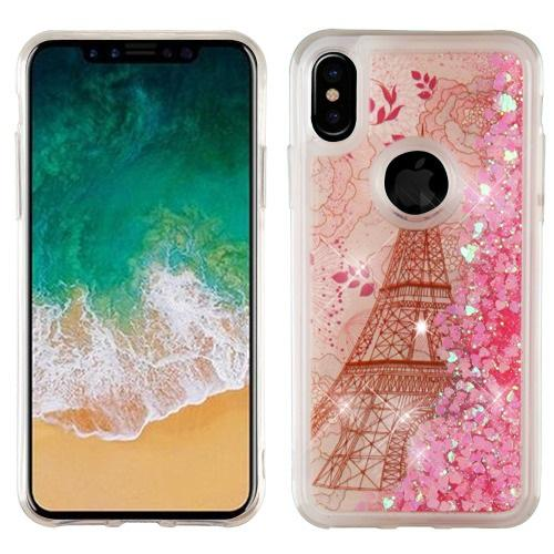 Made for [Apple iPhone X / XS 2018] Glitter Case, [Eiffel Tower Paris Rose Gold Stars] Slim Crystal Back Bumper Case [Drop Protection] Quicksand Glitter Flexible Border Case by Redshield