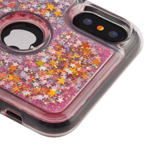 Apple iPhone X Glitter Case, [Baby Pink & Stars] Slim Crystal Back Bumper Case [Drop Protection] Quicksand Glitter Flexible Border Case