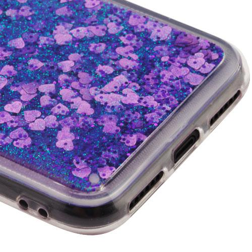Apple iPhone X Glitter Case, [Purple Hearts] Slim Crystal Back Bumper Case [Drop Protection] Quicksand Glitter Flexible Border Case